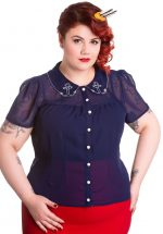 Ahoy Blouse, Navy - Plus Size
