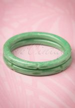 TopVintage Exclusive ~ 20s Luna Pearl Carved Bangles Set in Pale Green