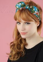 50s Little World Hibiscus Bandana in Blue