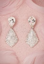 40s Crystal Tear Drop Earrings in Silver