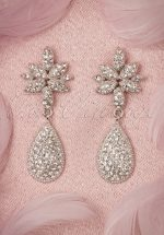 40s Diamond Tear Drop Earrings in Silver