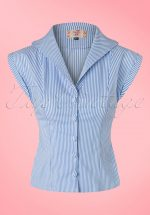 50s Willow Stripes Blouse in Blue and White