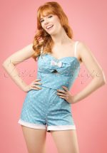 50s Ariel Nautical Playsuit in Blue