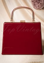 50s Leona Lacquer Lock Bag in Red