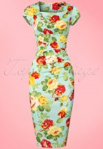 50s Laila Floral Pleated Pencil Dress in Mint