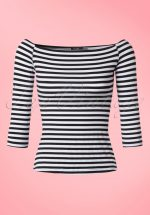 50s Gloria Off Shoulder Stripes Top in Black and White