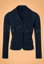 40s Milano Crepe Blazer Jacket in Dark Navy
