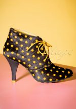50s Kimberly Polkadot Stiletto Boots in Black and Yellow