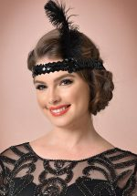 20s Feather and Sequins Headband in Black