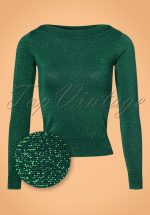50s Audrey Lapis Top in Tree Green Glitter