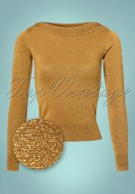 50s Audrey Lapis Top in Mustard Glitter