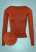 50s Audrey Lapis Top in Rio Red Glitter