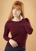 50s Boatneck Cottonclub Top in Beet Red