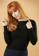 50s Boatneck Cottonclub Top in Black