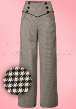 50s Swept Off Her Feet Trousers in Black and White Houndstooth