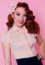 40s Estelle Blouse in Baby Pink