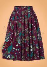 50s Frankie Peacock Swing Skirt in Purple