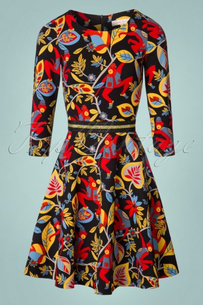 60s Monkey Bussiness Swing Dress in Black