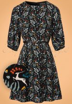 70s Cate Enchanted Woodland Dress in Black