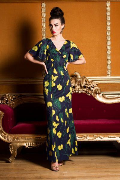 40s Annie Calla Lily Maxi Dress in Dark Navy