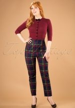 50s Bonnie Darling Check Trousers in Navy