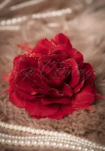 20s Glitter Rose Hair Clip and Brooch in Red