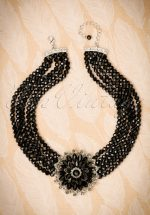 50s Audrey Jet Flower Choker Necklace in Black