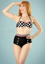 50s Debra Polkadot Stripes Halter Bikini in Black and White