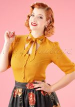 40s Candice Bow Blouse in Mustard Yellow