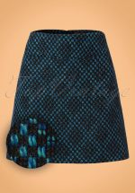 60s Olivia Bayou Skirt in Black and Blue