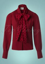 50s Sent With Love Tie Neck Blouse in Bordeaux