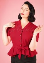 40s Phoebe Peplum Blouse in Red