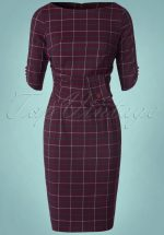 40s Carlita Pencil Dress in Aubergine