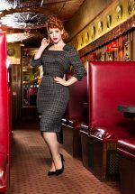 40s Veronica Tartan Pencil Dress in Grey