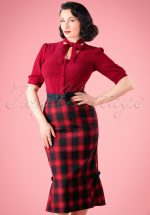 40s Frenchie Pencil Skirt in Red