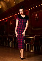 40s Joan Plaid Pencil Dress in Red