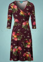 60s Dorothy Cross Dress in Bouquet Aubergine