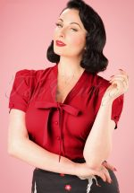 40s Tura Blouse in Red