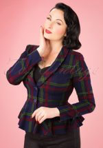 40s Meryl Darling Check Suit Jacket in Navy