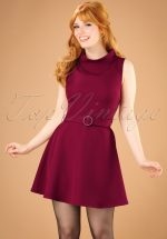 60s Ruth Flared Mini Dress in Burgundy