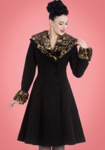50s Feline Leopard Swing Coat in Black