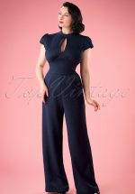 40s Maude High Neck Jumpsuit in Blue