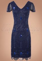 20s Downton Abbey Flapper Dress in Navy