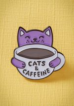 60s Cats and Caffeine Enamel Pin