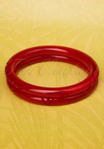 TopVintage Exclusive ~ 20s Delia Carved Bangles Set in Wine