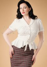 40s Phoebe Peplum Blouse in Ivory