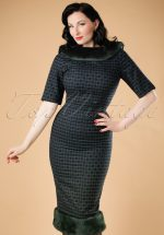 30s Juliette Chaise Check Pencil Dress in Navy and Green