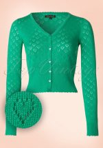 40s Heart Ajour Cardigan in Sparkle Green