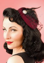 50s All A Dream Fascinator in Wine