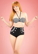 50s Joana Stripes Halter Bikini in Black and White